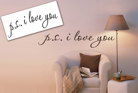 Muursticker p.s. I love you in zwart, wit of roze t.w.v. €29,95 nu GRATIS!