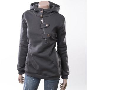 Dames sweater   Heerlijk warme, comfortabele hoodie Donkergrijs