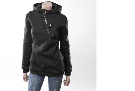 Dames sweater | Heerlijk warme, comfortabele hoodie Zwart