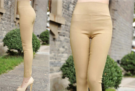 High enkel Tregging | Comfortabele, elastische broeklegging Khaki