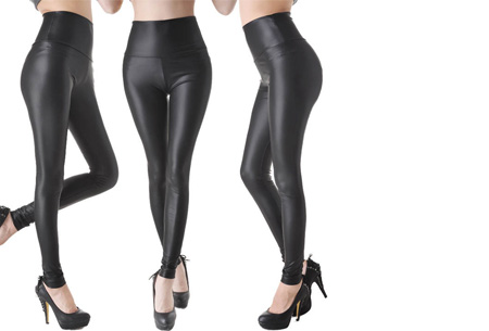 Leather Look legging Maat M - Leather zwart