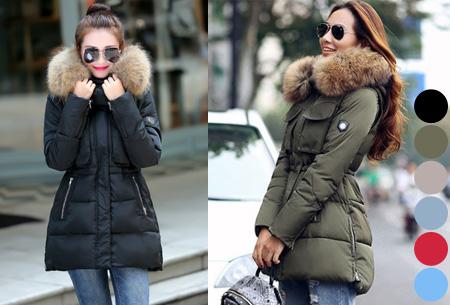 Winterjas Actie.Winterjas Met Faux Fur Bontkraag