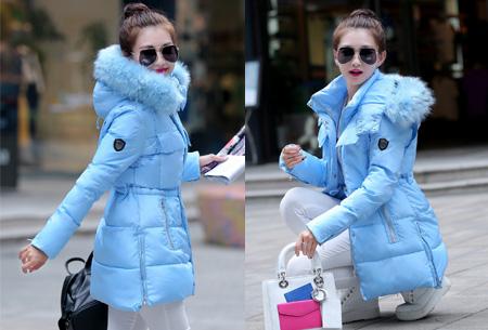 Lichtblauwe Winterjas.Winterjas Met Faux Fur Bontkraag