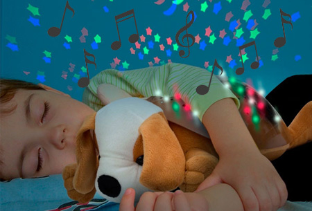 Knuffeldieren met LED sterrenhemel lamp en geluid