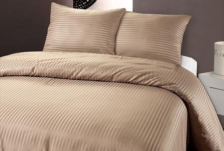 Luxe dekbedovertrek van hotelkwaliteit   Een aanwinst voor elke slaapkamer taupe