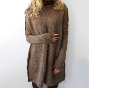 Knitted turtleneck trui | Warme, comfy trui voor een fashionable look coffee