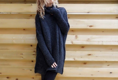 Knitted turtleneck trui | Warme, comfy trui voor een fashionable look donkerblauw