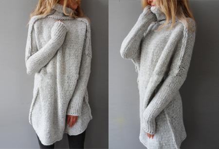 Knitted turtleneck trui   Warme, comfy trui voor een fashionable look lichtgrijs