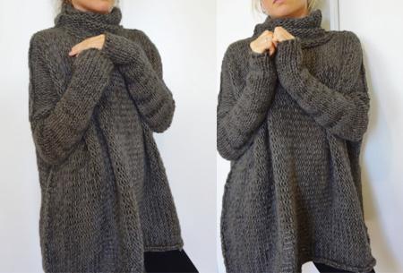 Knitted turtleneck trui   Warme, comfy trui voor een fashionable look donkergrijs