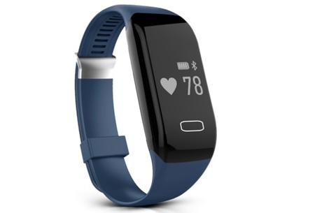 Bluetooth 4.0 Activity tracker | Monitor je hartslag, beweging, slaap en ontvang pushberichten Blauw