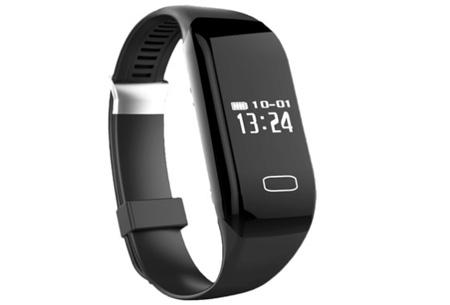 Bluetooth 4.0 Activity tracker | Monitor je hartslag, beweging, slaap en ontvang pushberichten Zwart