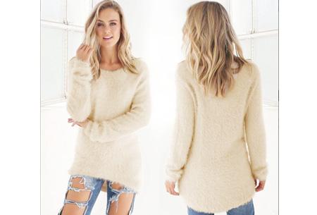 Fluffy pullover | Extreem zachte trui die niet mag ontbreken in jouw kledingkast Beige
