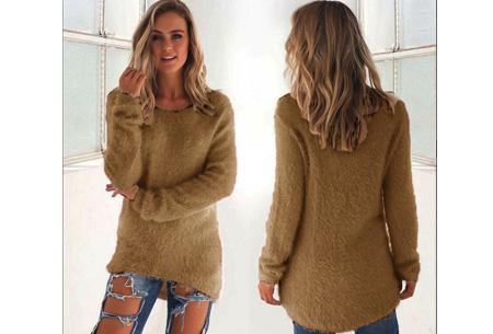 Fluffy pullover | Extreem zachte trui die niet mag ontbreken in jouw kledingkast Coffee
