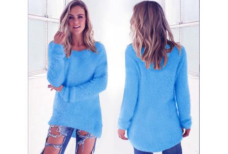 Fluffy pullover | Extreem zachte trui die niet mag ontbreken in jouw kledingkast Blauw