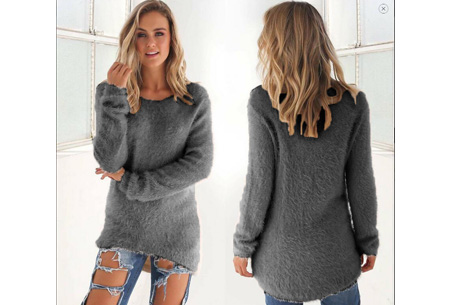 Fluffy pullover | Extreem zachte trui die niet mag ontbreken in jouw kledingkast Grijs