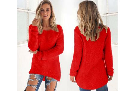 Fluffy pullover | Extreem zachte trui die niet mag ontbreken in jouw kledingkast Rood