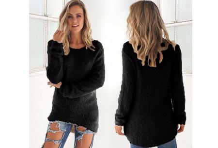 Fluffy pullover | Extreem zachte trui die niet mag ontbreken in jouw kledingkast Zwart