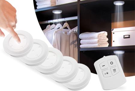 5 draadloze LED spots met afstandsbediening en touch