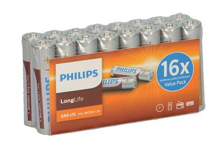 48-pack Philips LongLife batterijen   Krachtige AA en/of AAA batterijen met een extra lange levensduur