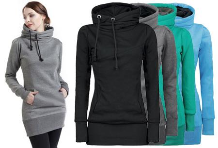 Lange hoodie met fleece binnenzijde