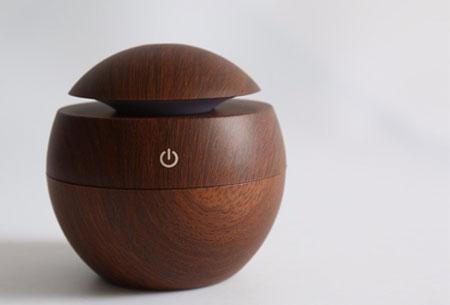 Woodlook aroma geurverspreider en luchtbevochtiger | Met of zonder geurolie Donkerbruin