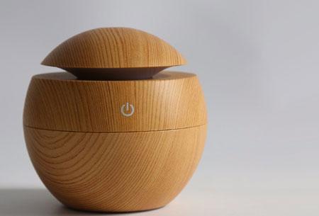 Woodlook aroma geurverspreider,diffuser en luchtbevochtiger | Met of zonder geurolie  Lichtbruin