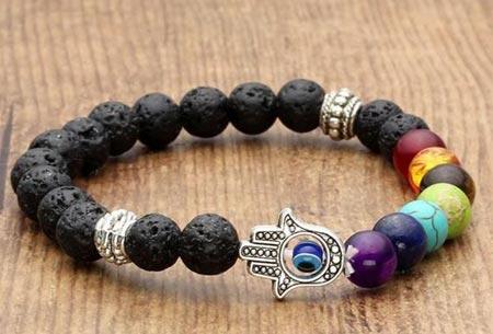 Chakra armbanden | Krijg nieuwe energie en kom in balans Zwart lava Hamsa