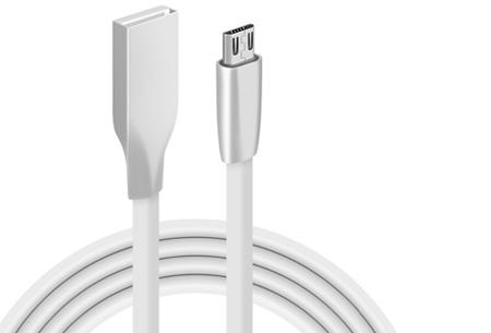 'Onbreekbare' oplaadkabel | Ultra sterke kabel voor Lightning of Micro USB wit