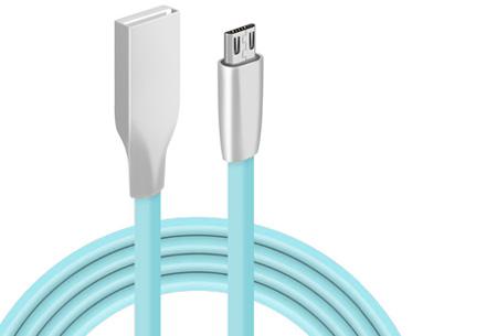 'Onbreekbare' oplaadkabel | Ultra sterke kabel voor Lightning of Micro USB lichtblauw