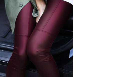 Urban legging met leather look | Hip mode-item voor elke garderobe wijnrood