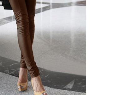 Urban legging met leather look | Hip mode-item voor elke garderobe coffee