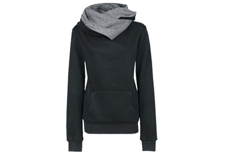 Fleece sweater | Comfy sweater met zachte fleece binnenzijde Zwart