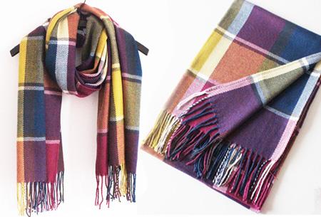 Colorblock sjaal Creme-blauw