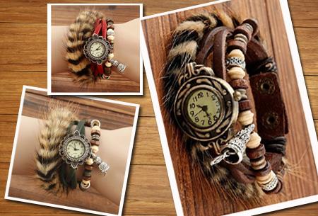 Lederen Faux Fur horloge
