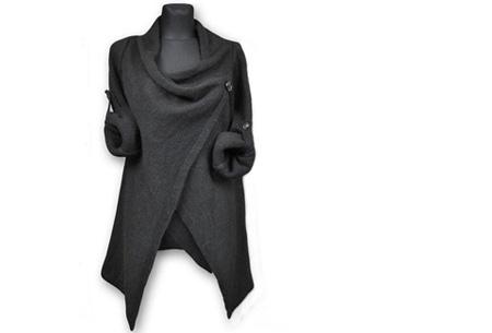 Knitted overslagvest | Trendy & comfortabel! zwart