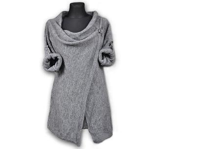 Knitted overslagvest | Trendy & comfortabel! grijs