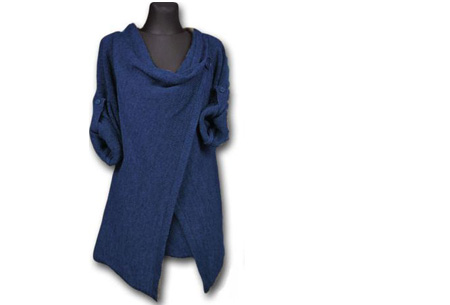 Knitted overslagvest | Trendy & comfortabel! blauw