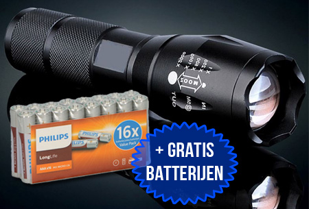 Extreme militaire zaklamp incl. 16 Philips AAA batterijen