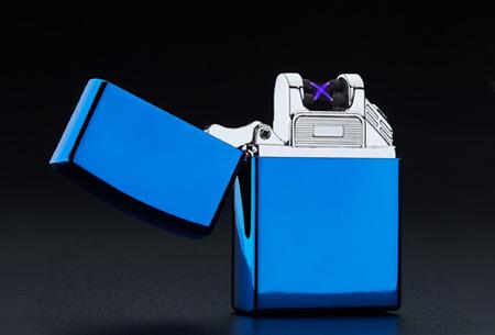 Klassieke aansteker   Oplaadbaar via USB zonder brandstof Blauw