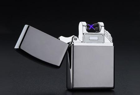 Klassieke aansteker   Oplaadbaar via USB zonder brandstof Zwart