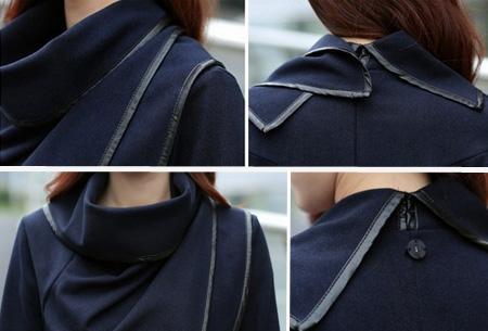 Uitverkoop voorjaars overslagjas met faux leather afwerking | Laatste maten OP=OP