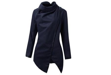 Uitverkoop voorjaars overslagjas met faux leather afwerking | Laatste maten OP=OP Donkerblauw
