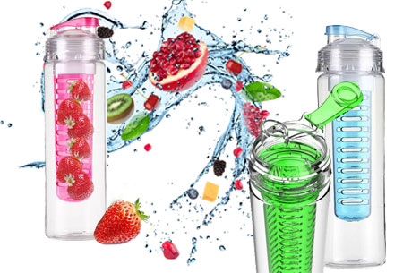 3-pack waterflessen met fruit filter Groen
