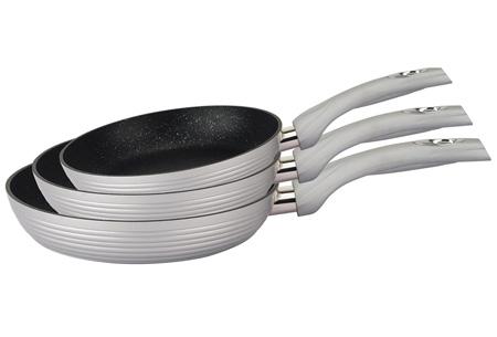 Royalty Line 3-delige pannenset met marmercoating   Topkwaliteit voor een spotprijs Grijs