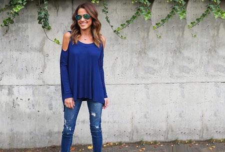 Over my shoulder top | Verkrijgbaar in 5 prachtige kleuren Kobaltblauw