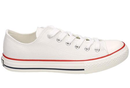 Classic sneakers voor hem en haar | Hoog of laag model - voor de maten 36 t/m 46 Wit - Laag