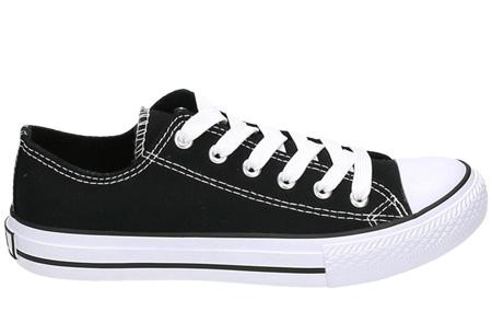 Classic sneakers voor hem en haar | Hoog of laag model - voor de maten 36 t/m 46 Zwart - Laag