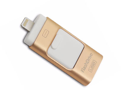 3 in 1 Flash Drive | Extern geheugen voor je smartphone of tablet Goudkleurig