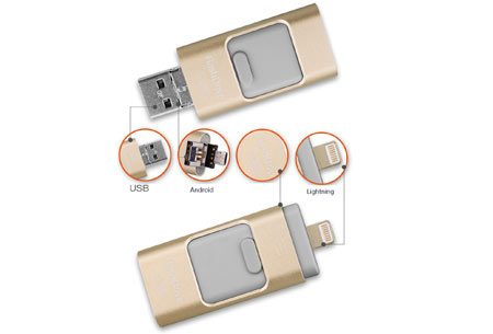 3 in 1 Flash Drive | Extern geheugen voor je smartphone of tablet