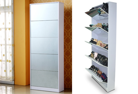 Schoenenkast met spiegel en korting | Stijlvol, praktisch en overzichtelijk!